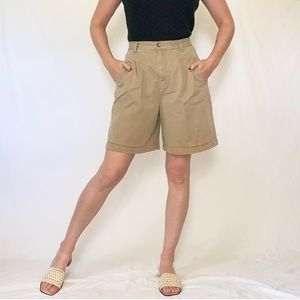 Vintage 90s Khaki High Rise Pleated Shorts